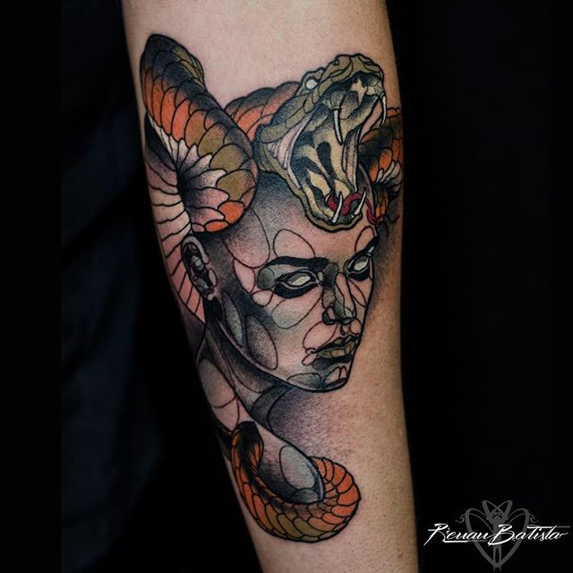 Modern style colored forearm tattoo of mysterious woman with snake