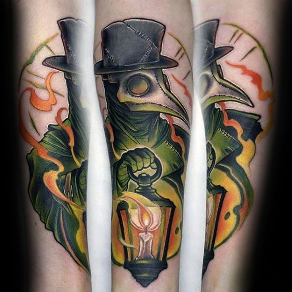 Modern style colored forearm tattoo of plague doctor with candle lamp