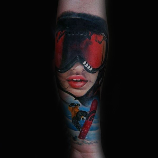 Modern style colored forearm tattoo of snowboarder woman