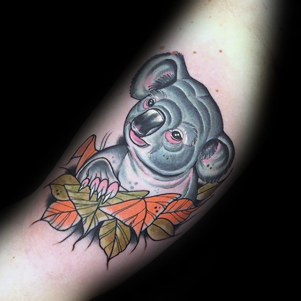 Modern style colored forearm tattoo of cute koala bear with leaves