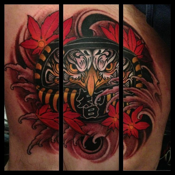 Modern style colored high tattoo of evil doll with leaves