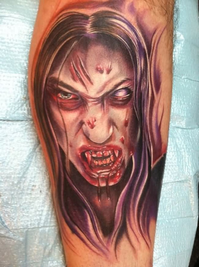 Modern style colored leg tattoo of corrupted bloody vampire woman