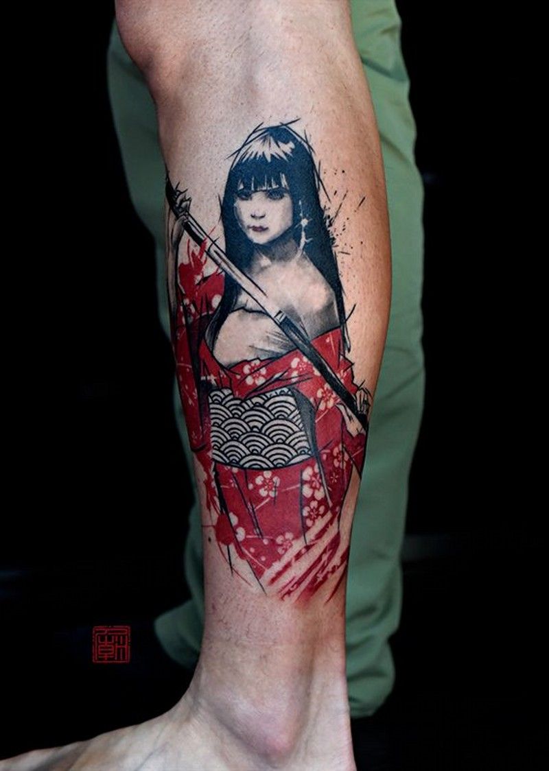 Modern style colored leg tattoo of Asian geisha with sword