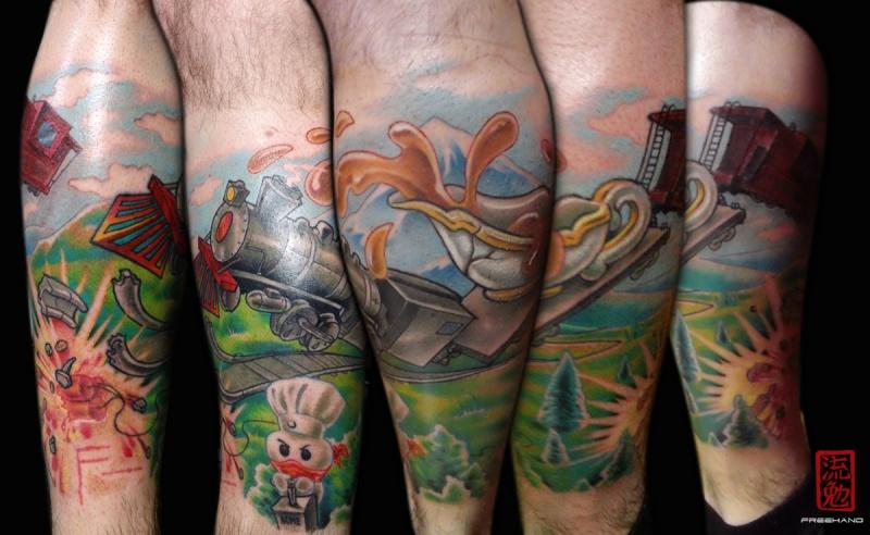 Tatuaggio di gamba colorata in stile moderno del crash del treno fantasy