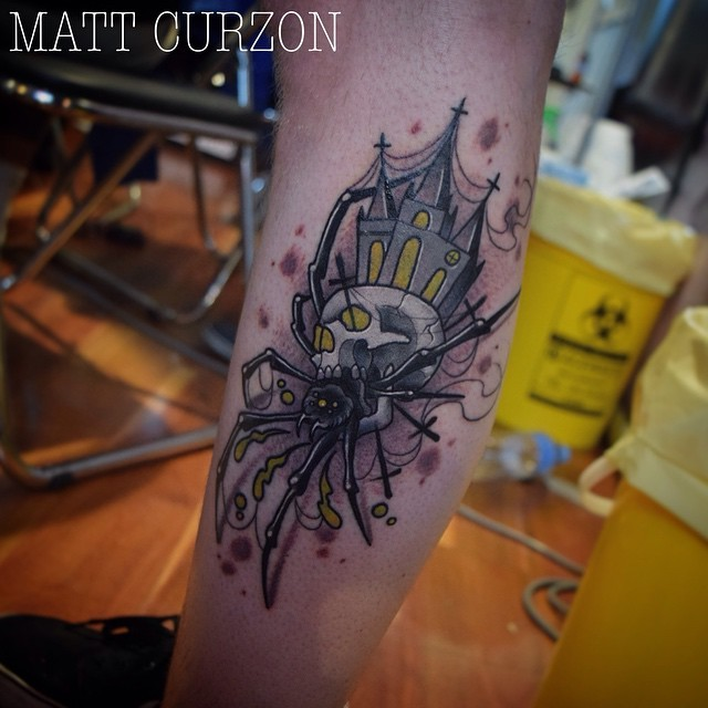 Modern style colored leg tattoo of human skull with spider legs and old church