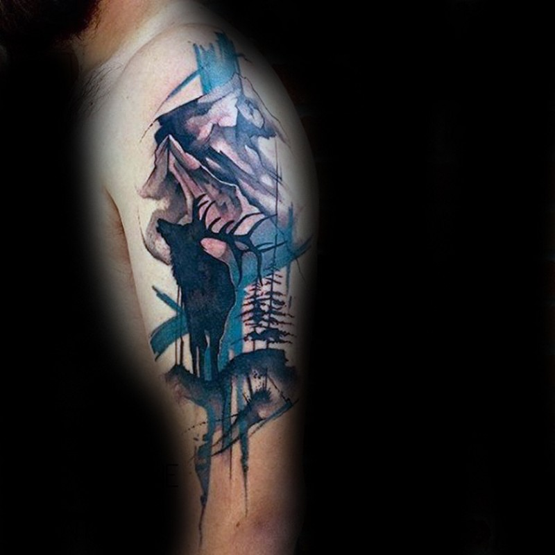 Modern style colored mountains tattoo on shoulder with elk silhouette