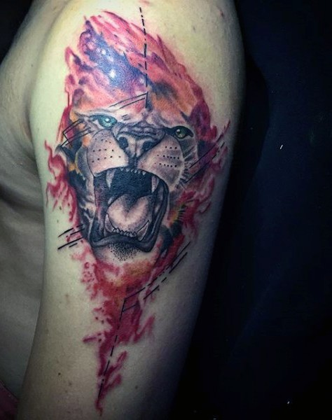 Modern style colored shoulder tattoo of roaring lion with flames