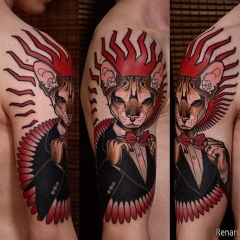 Modern style colored shoulder tattoo of gentleman cat with ornaments