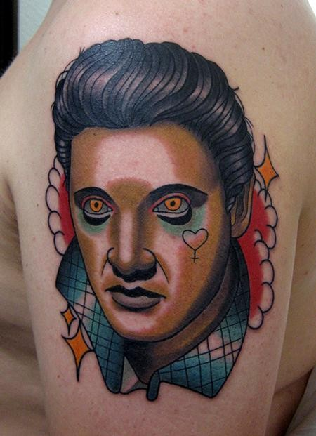 Modern style colored shoulder tattoo of creepy Elvis face