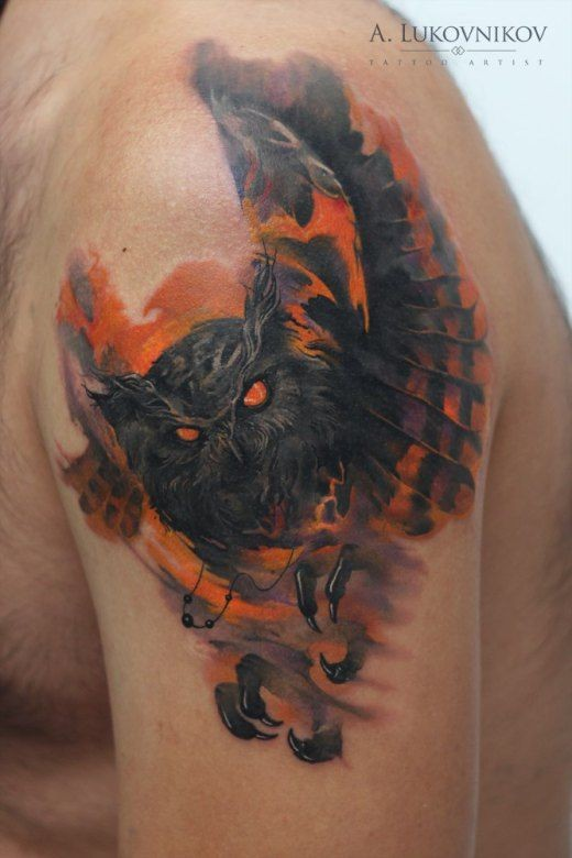 Modern style colored shoulder tattoo of mystical owl