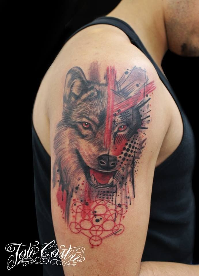 Modern style colored shoulder tattoo of big wolf with various ornaments