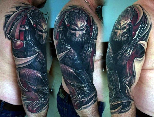 Modern style colored shoulder tattoo of big Predator