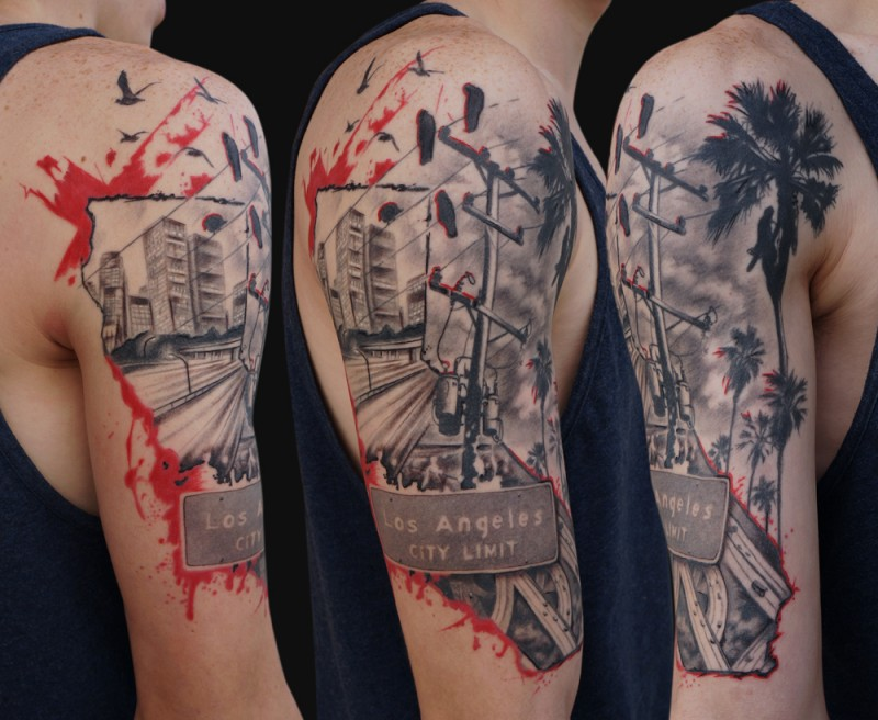 Modern style colored shoulder tattoo of Los Angeles city sights