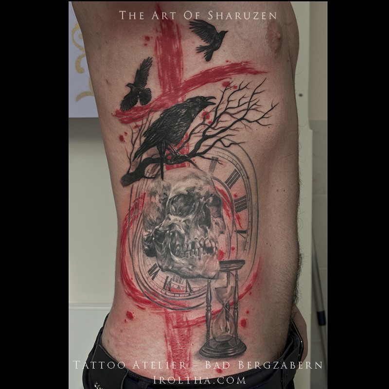 Modern style colored side tattoo of human skull with crows and clocks