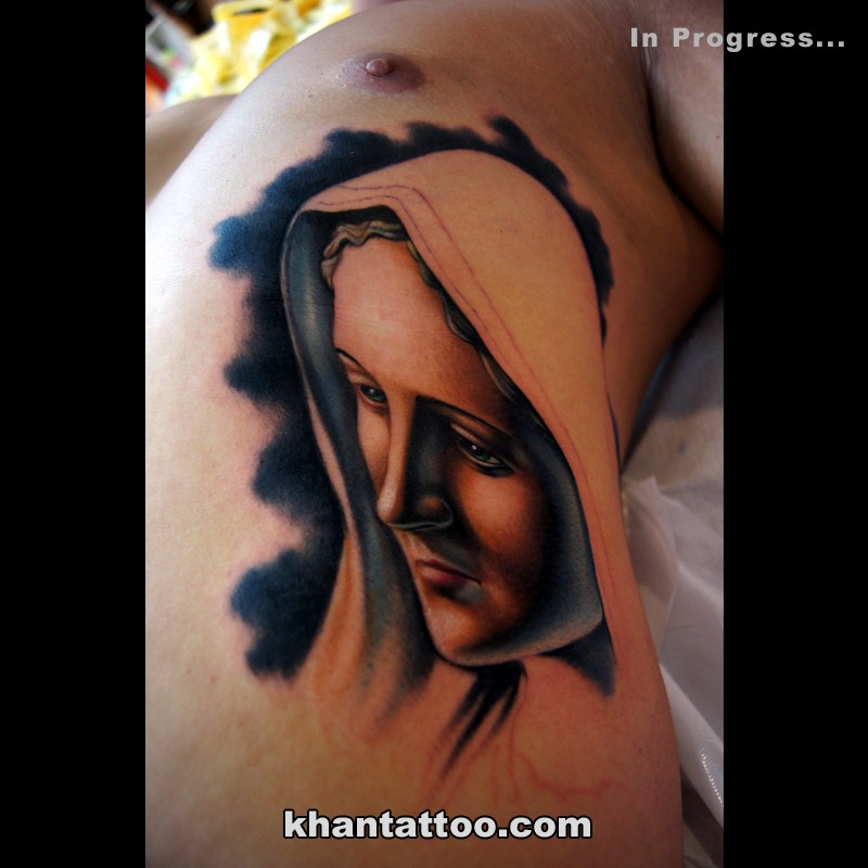 Modern style colored side tattoo of saint woman portrait