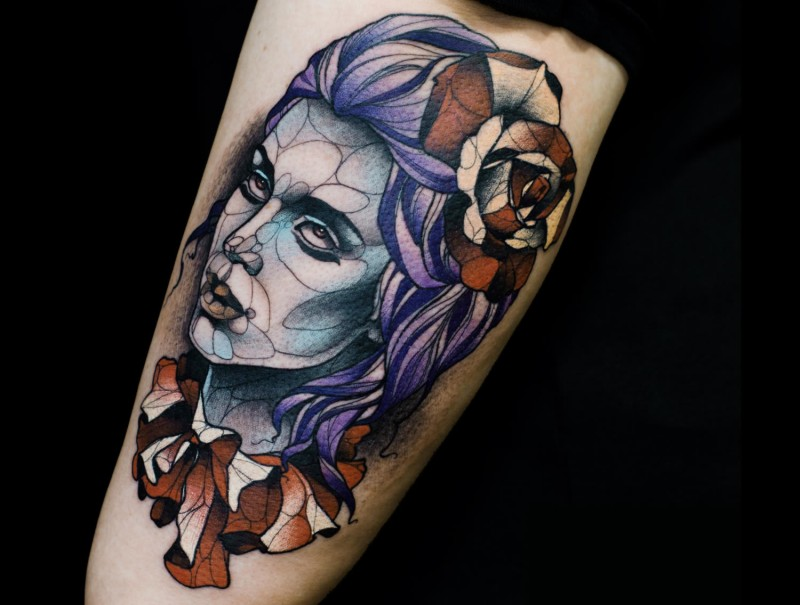 Modern style colored tattoo of demonic woman with flowers