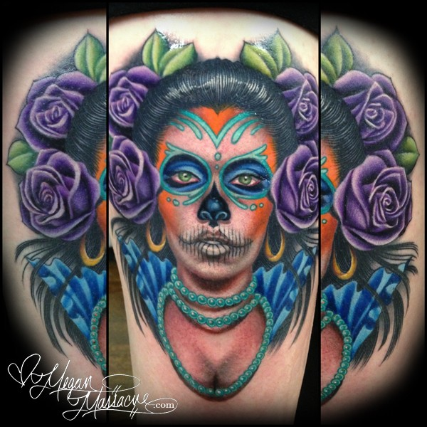 Modern style colored tattoo of Mexican traditional woman
