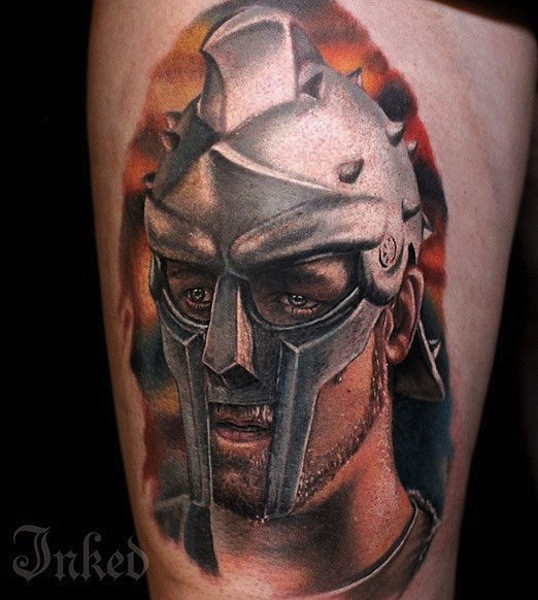 Modern style colored thigh tattoo of Gladiator movie hero