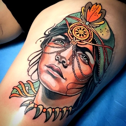 Modern style colored thigh tattoo of beautiful woman with jewelry