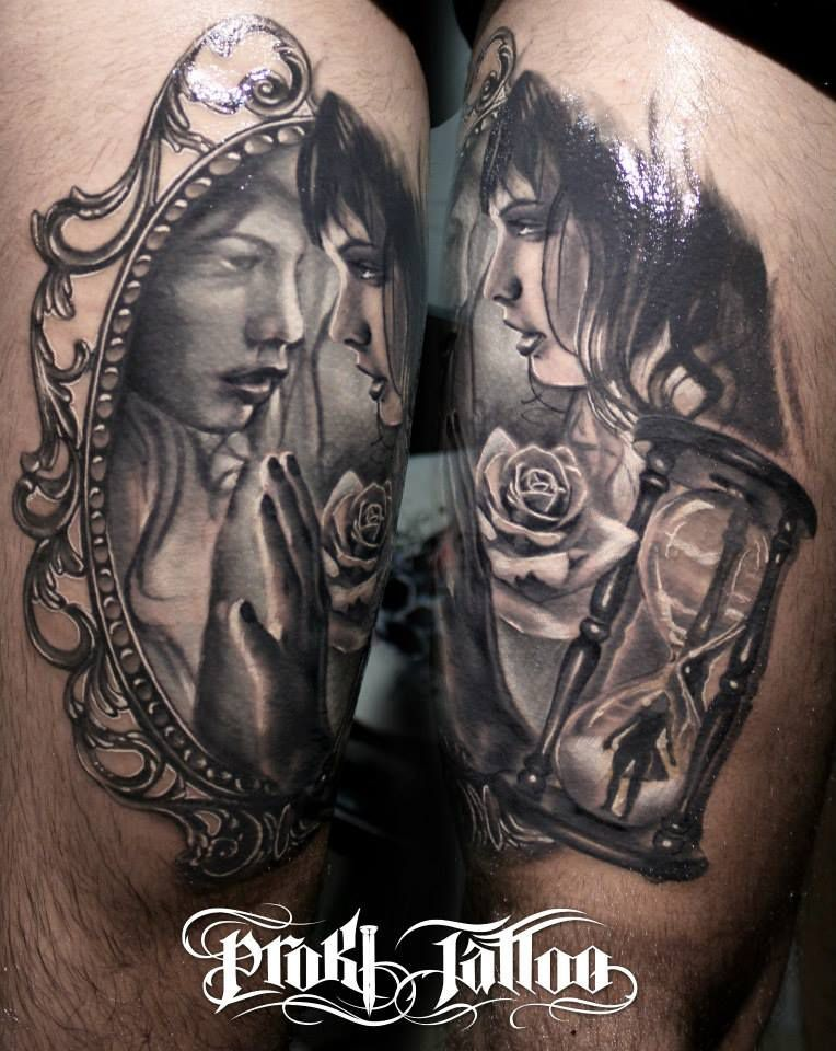 Modern style colored thigh tattoo of woman with sand clock and rose