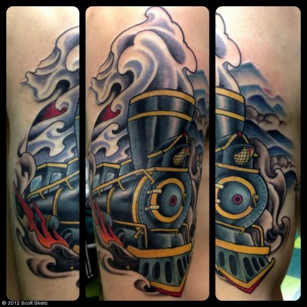 Modern style colored upper arm tattoo of fantasy train