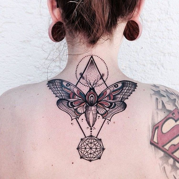 Modern style colored  upper back tattoo of big butterfly with geometrical ornaments
