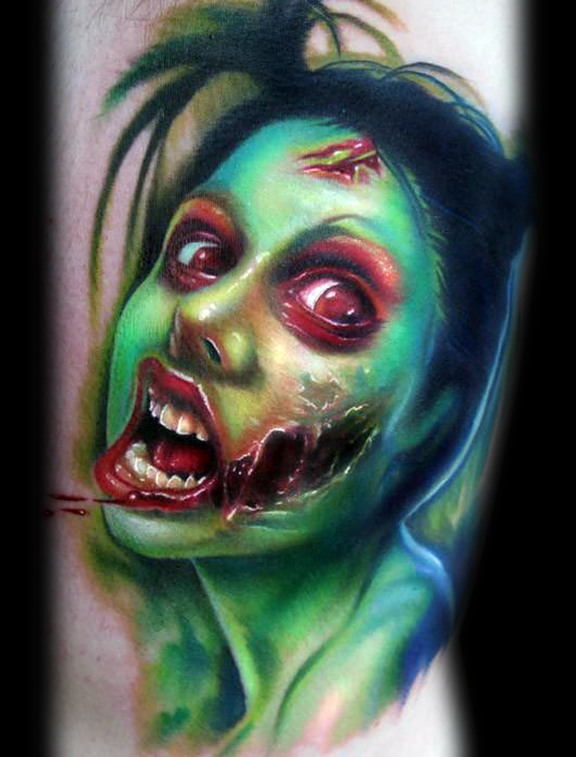 Modern style painted colored awesome bloody zombie woman tattoo