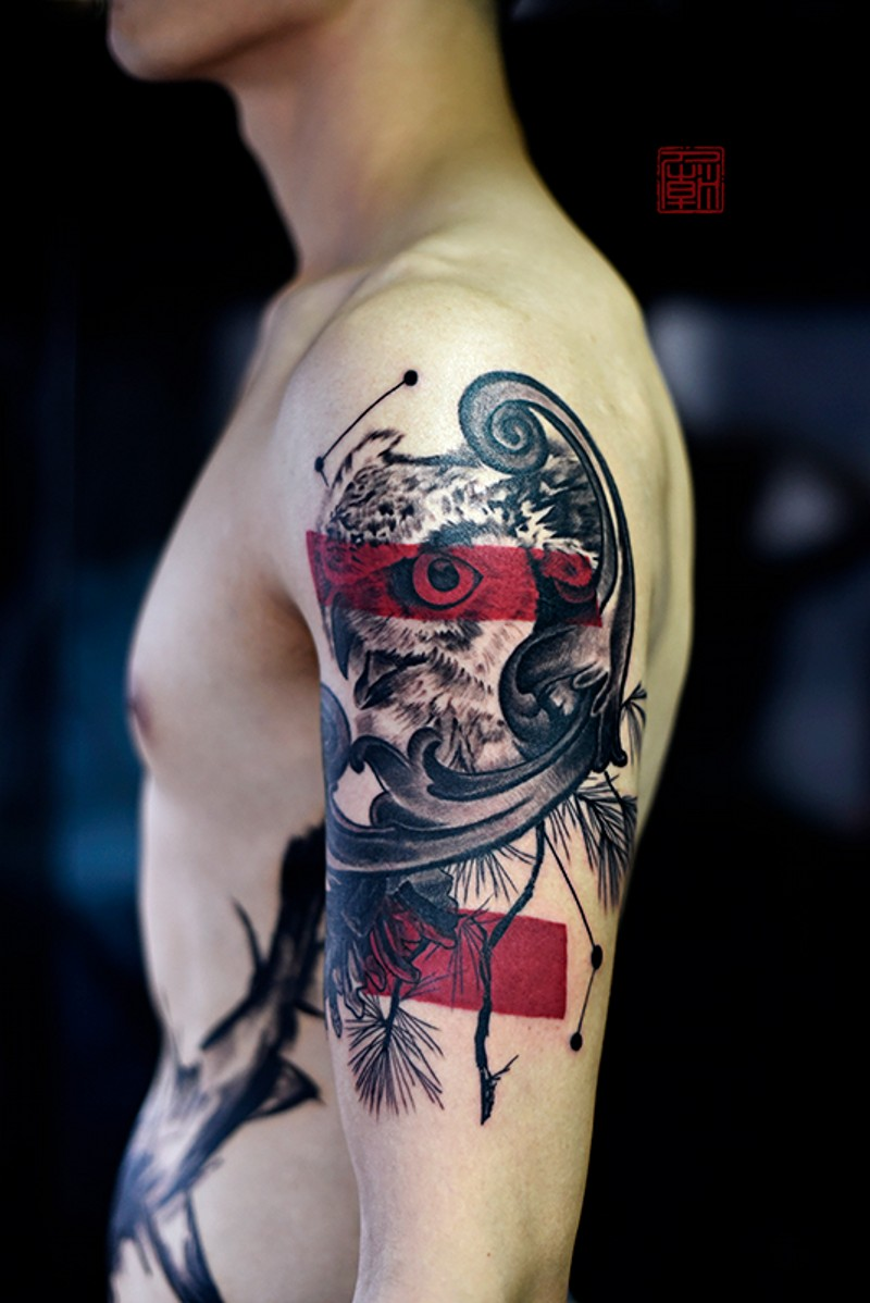 Modern style shoulder tattoo of detailed owl with red horizontal lines