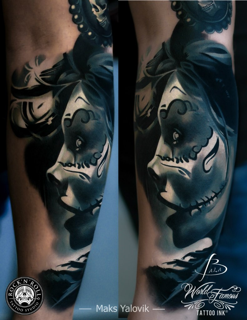 Modern style very detailed arm tattoo of mystic woman face