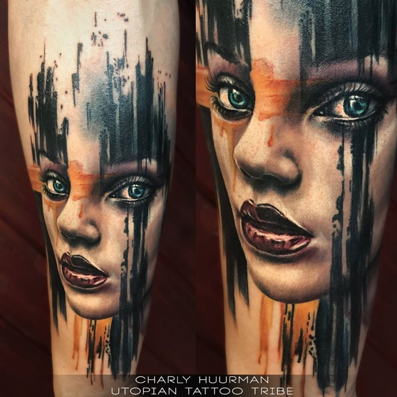 Modern traditional colored arm tattoo of woman portrait