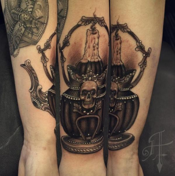Modern traditional style colored arm tattoo of tea pot with skull and candle