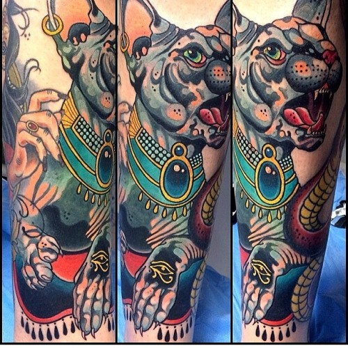 Modern traditional style colored arm tattoo of sweet looking cat with Egypt symbols