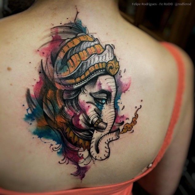 Modern traditional style colored back tattoo of mystical elephant