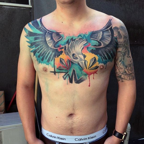 Modern traditional style colored chest tattoo of big fantasy bird