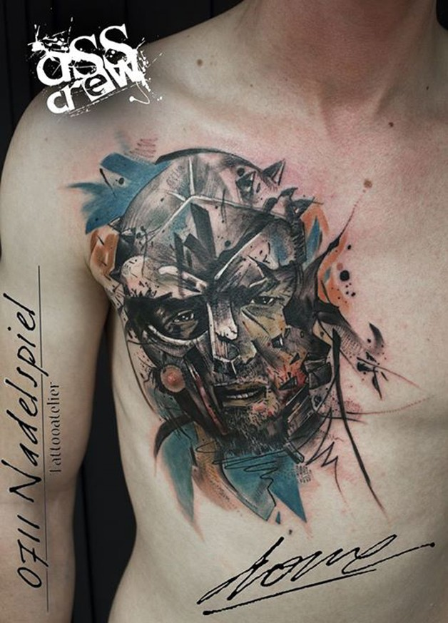 Modern traditional style colored chest tattoo of medieval warrior with broken helmet
