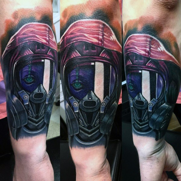 Modern traditional style colored forearm tattoo of spectacular looking woman in gas mask
