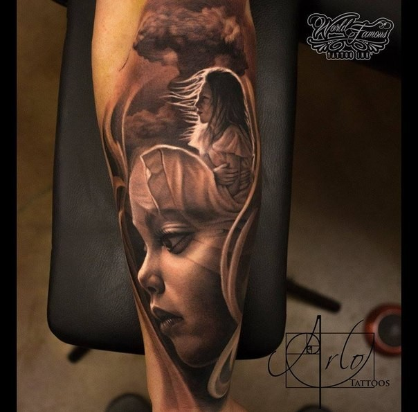Modern traditional style colored forearm tattoo of sweet little girl angel