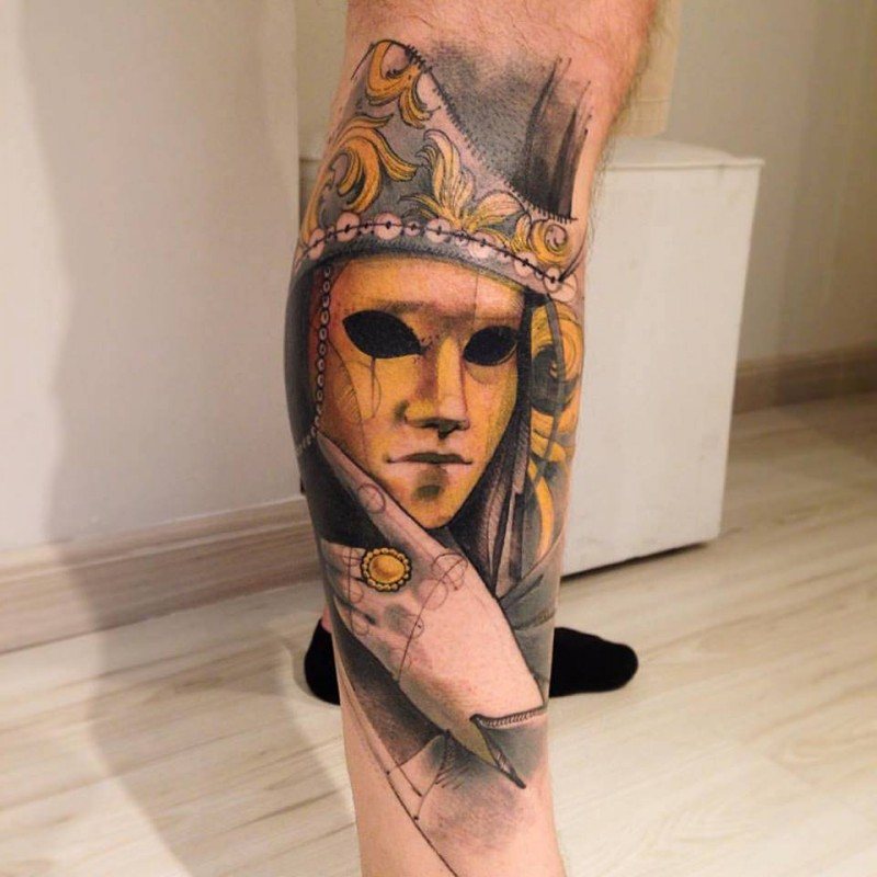 Modern traditional style colored leg tattoo of mystical man in mask