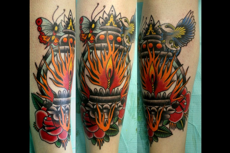 Modern traditional style colored leg tattoo of old lighter with bird and butterfly
