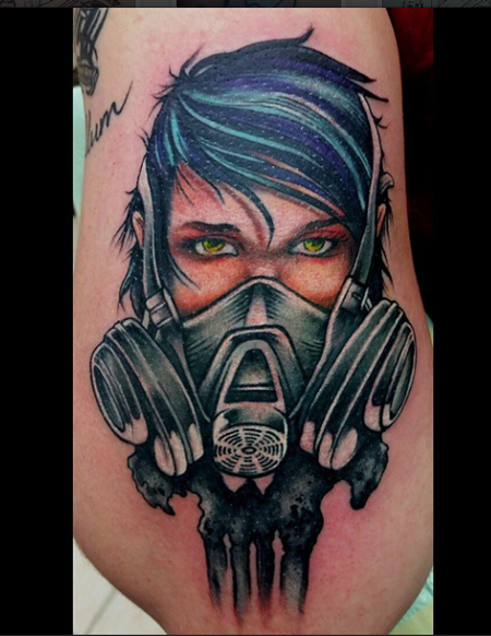 Modern traditional style colored man in gas mask tattoo