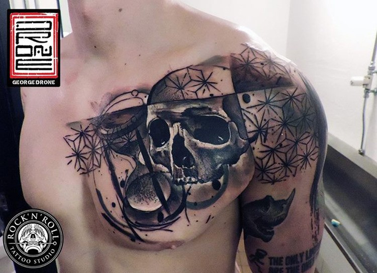 Modern traditional style colored shoulder and chest tattoo of various ornaments with skull and sand clock