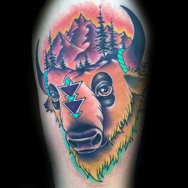Modern traditional style colored shoulder tattoo of grunting ox with mountains and forest