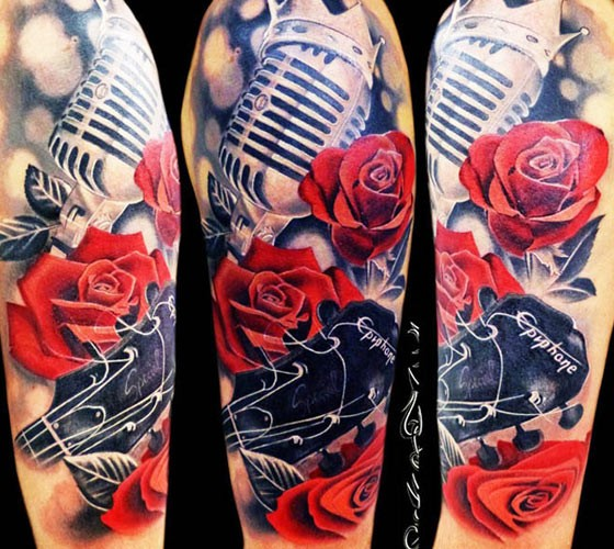Modern Traditional Style Colored Shoulder Tattoo Of Vintage Microphone With Roses And Guitar Tattooimages Biz