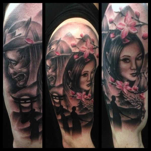 Modern traditional style colored shoulder tattoo fo geisha with blooming tree and samurai warrior