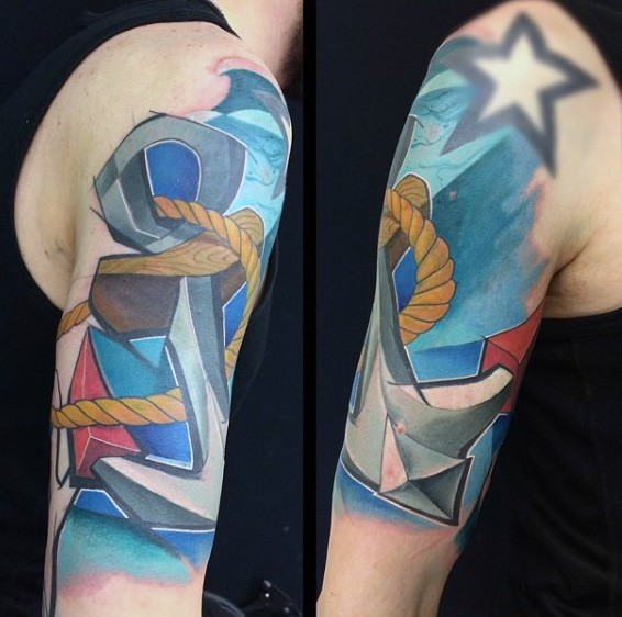 Modern traditional style colored shoulder tattoo of roped anchor