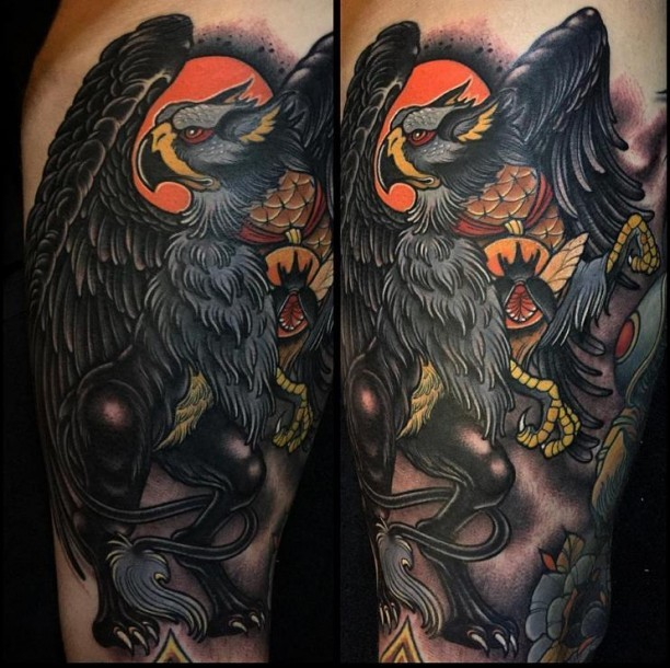 Modern traditional style colored tattoo of big bird