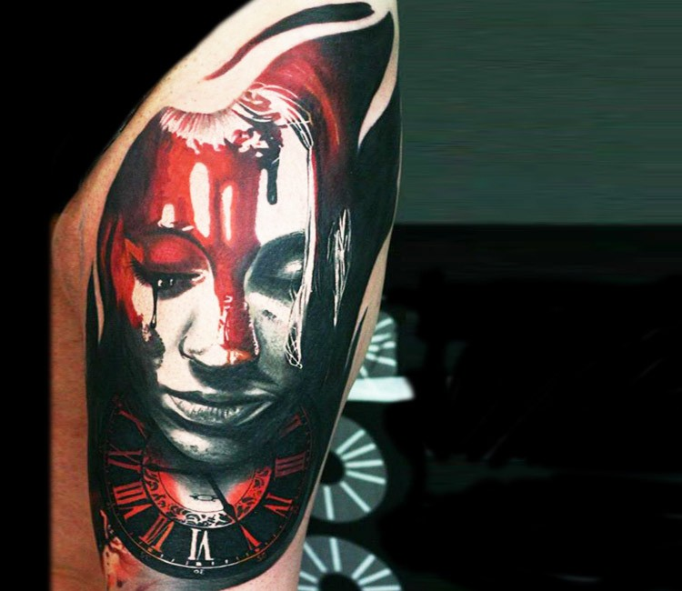 Modern traditional style colored thigh tattoo of bloody woman with clock