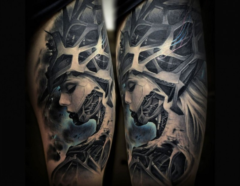 Modern traditional style colored thigh tattoo of fantasy woman