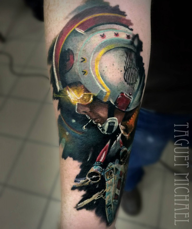 Moderne style colored forearm tattoo of Star Wars pilot with X-Wing