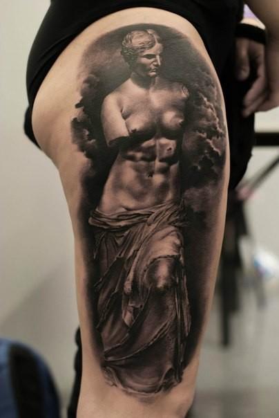 Monumental 3D realistic Venus de Milo statue stylized tattoo on thigh